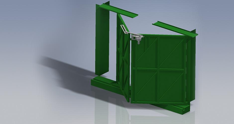 3D Animation eines GfA-Falttor-ELEKTROMATEN FT im Einsatz an einem Falttor mittels selbst Konstruierter Antriebskonsole und Hebelarm der ROWI-TECH AG