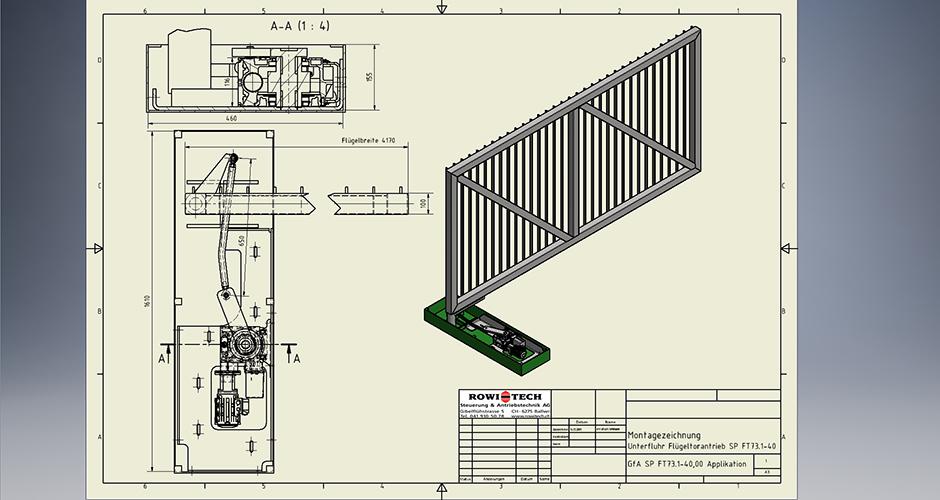 Massbildzeichnung  eines Unterfluhr Arealflügeltors mit einem GfA-ELEKTROMATEN FT73.1-40,00 und einem Sonderhebelarm konstruiert von der Firma ROWI-TECH AG