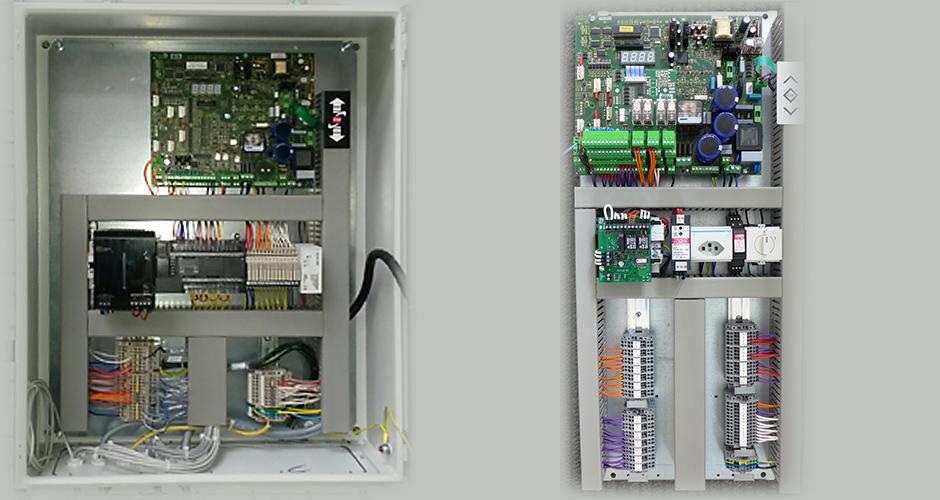Zwei Sondersteuerungen. Links mit einer zusätzlichen SPS für Signalverarbeitung und rechts mit einem Bodenriegelsteuergerät
